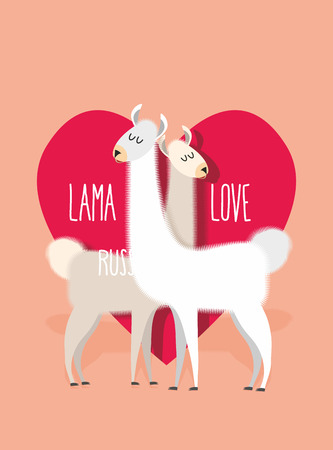 Lama love. Two Llama Alpaca on ackground of heart. Greeting card for Valentines day. Vector illustration