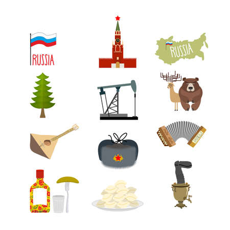 Set of symbols and icons for Russia: the Kremlin and balalaika oil rig and vodka with earflaps and a Samovar dumplings and accordion. Flag of Russian Federation. Vector illustration Vector