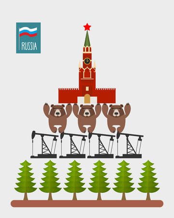 Structure Russia. Moscow Kremlin is based on three bears. Bears stand on oil rigs. Oil pumps are on forest. Infographic Russian Federation. Vector illustration. Vector