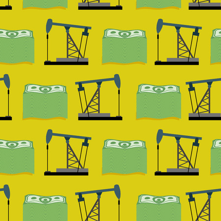 Oil rig and a bundle of money seamless pattern. Vector rich background. A lot of dollars and oil. Vector