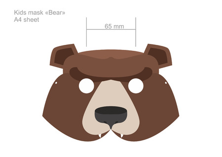 Carnival baby bear mask in A4 format. Print and cut out. Vector illustration