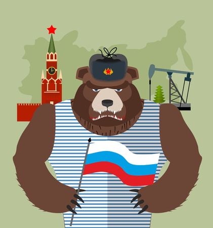 flaps: Bear with ear flaps with  flag of Russia. Background of  Moscow Kremlin and oil rigs. Vector illustration