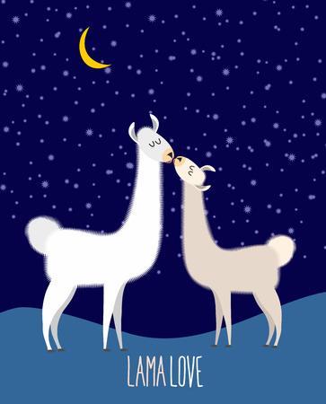 Llama Alpaca. Two cute llama Kiss at night under the starlit sky. Lama love. Vector illustration Vector