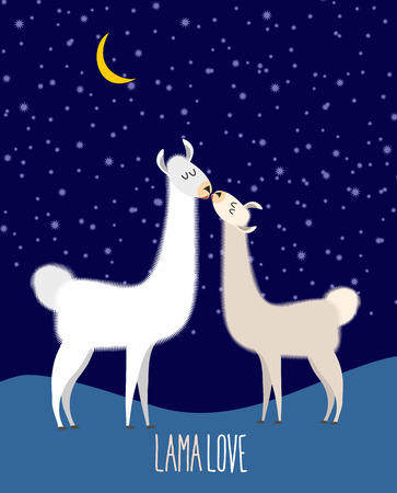 llama: Llama Alpaca. Two cute llama Kiss at night under the starlit sky. Lama love. Vector illustration