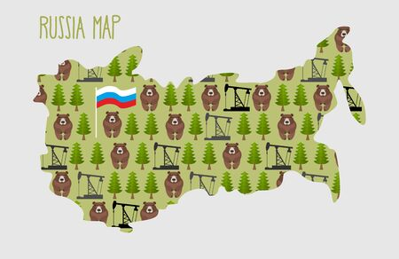 kreml: Russia Map with minerals and flora: an oil rig and the forest and brown bears. Vector illustration Illustration
