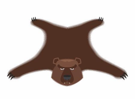 hide: Bear pelt. Big brown bear Grizzly hide. Hunting trophy. Vector illustration Illustration