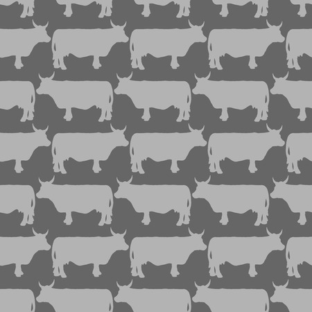 Grey cows graze seamless pattern. Vector background of livestock. Grey animals on a black background. Vector