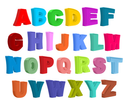 3d alphabet letter abc: Font children. Colorful alphabet. Letters in child style. Cartoon ABC. Vector illustration Illustration