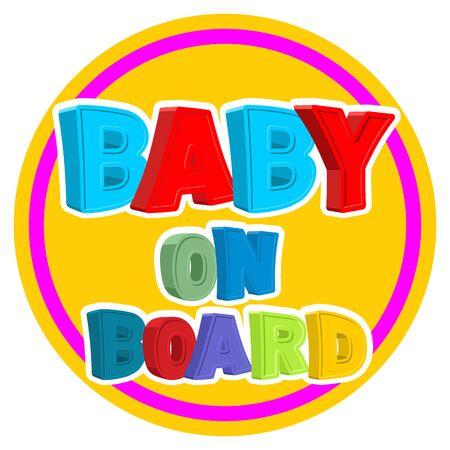 bebe a bordo: Beb� a bordo. Reg�strate pegatina en un coche con los ni�os. Vectores