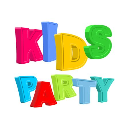 cartoony: Kids party. Ttext of colored cartoony characters. Vector illustration