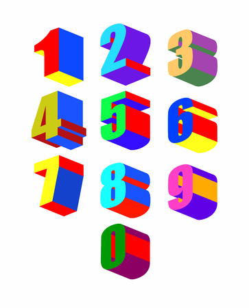 colorfu: Set Crazy colorfu 3dl numbers. Vector illustration.