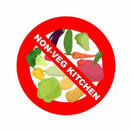 tachado: Se�al de stop. La prohibici�n de signo rojo. Tachado verduras: patatas y zanahorias col y remolacha. Cocina excluye verduras s�lo platos de carne. Ilustraci�n vectorial