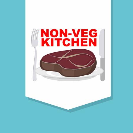 steak plate: Steak en el plato con cubiertos: tenedor y cuchillo. Logo de cafeter�a o restaurante. Cocina sin verduras. Platos con carne. Logo Vector.