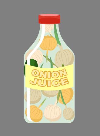 tos: El jugo de cebolla. El jugo de las verduras frescas. Cebollas en una botella transparente. La vitamina bebida para una alimentación saludable. Ilustración del vector.
