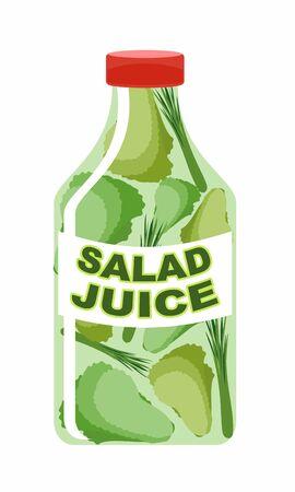 sorrel: Salad juice. Juice from fresh vegetables. Lettuce in a transparent bottle. Vitamin drink for healthy eating. Vector illustration.