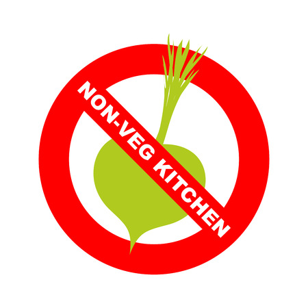 excludes: Forbidding character. No Ban or Stop signs. Kitchen excludes vegetables. Dishes without vegetables. Vector illustration. Strikethrough vegetable