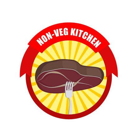 excludes: Steak on a fork. Kitchen excludes vegetables meat only. Vector illustration