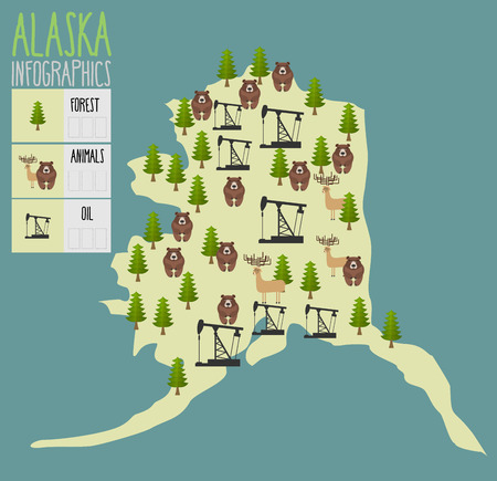 alaska map: Alaska map. Natural resources: oil and wood. Animals of Alaska bears and moose. Infographics of Alaska. Vector illustration Illustration