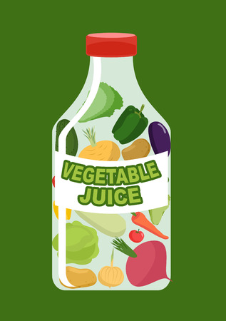juice bottle: Vegetables juice. Juice from fresh vegetables. Carrot and cucumber turnips and Aubergine in a transparent bottle. Vitamin drink for healthy eating. Vector illustration.