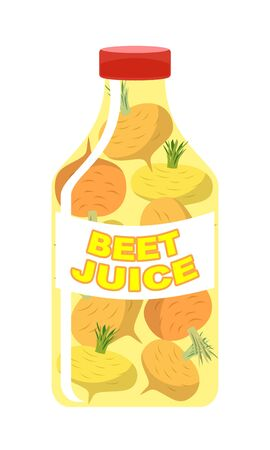 brassica: Turnip juice. Juice from fresh vegetables. Turnip in a transparent bottle. Vitamin drink for healthy eating. Vector illustration. Illustration