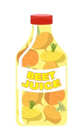 brassica: Turnip juice. Juice from fresh vegetables. Turnip in a transparent bottle. Vitamin drink for healthy eating. Vector illustration. Illustration