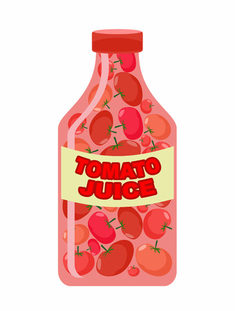 tomato juice: Tomato juice. Juice from fresh vegetables. Tomatoes in a transparent bottle. Vitamin drink for healthy eating. Vector illustration.