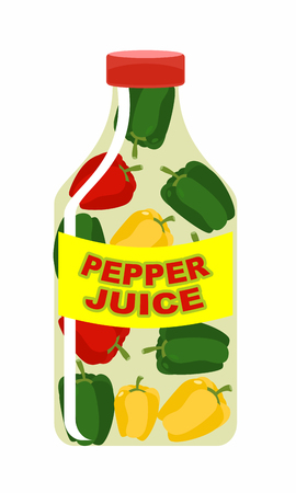 sappy: Pepper juice. Juice from fresh vegetables. Colored peppers in a transparent bottle. Vitamin drink for healthy eating. Vector illustration.
