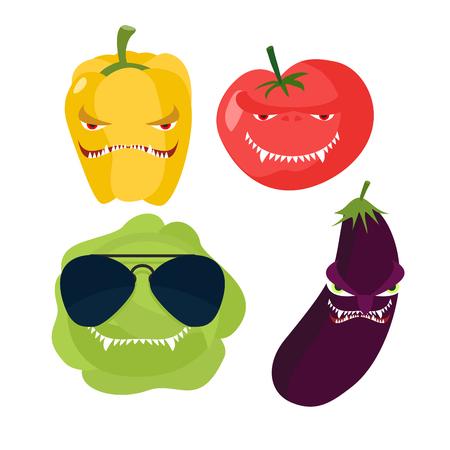 horrible: Scary vegetables. Cabbage in glasses horrible pepper ferocious tomato. Vector illustration Illustration