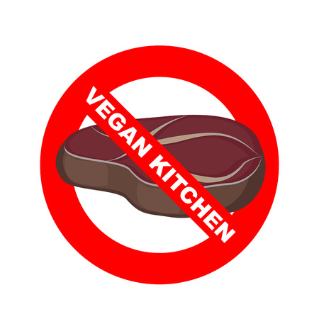 strikethrough: Stop signs. Kitchen excludes meat. Vegetable dishes. Vector illustration. Strikethrough piece of meat steak. Vegetarian kitchen logo and emblem Illustration