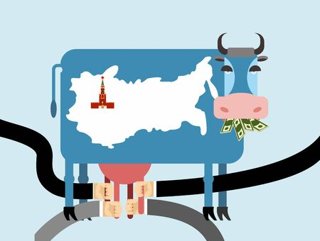 cow skin: Cow eats money dollars. Map of Russia Moscow Kremlin on skin of cow. Hand Milking a cow for udder. Allegorical illustration for magazine. Farm animal blue