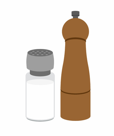 pepper mill: Salt and pepper shakers. On a white background. Vector illustration