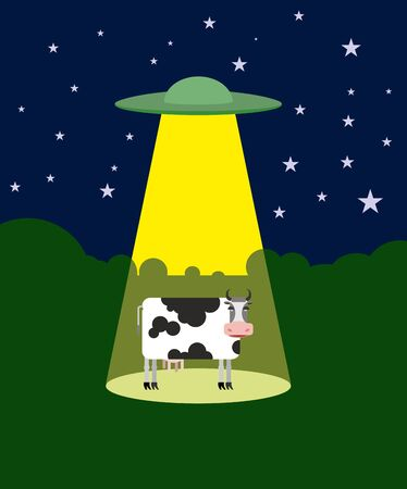 alien symbol: UFO abducts a cow. Space aliens and cattle. Flying saucer beam picks up animal from farm. Vector illustration