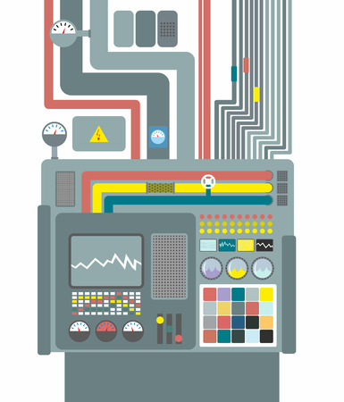 control system: Production system. Control Panel with buttons and sensors. Buttons and screens. Wires and valves. Supply of electricity. Robotic System Center for design and analysis. Factory machine for release. Vector illustration