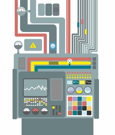 electricidad: Sistema de producción. Panel de control con botones y sensores. Botones y pantallas. Alambres y válvulas. Suministro de energía eléctrica. Robotic System Center para el diseño y análisis. Máquina de la fábrica para el lanzamiento. Ilustración vectorial