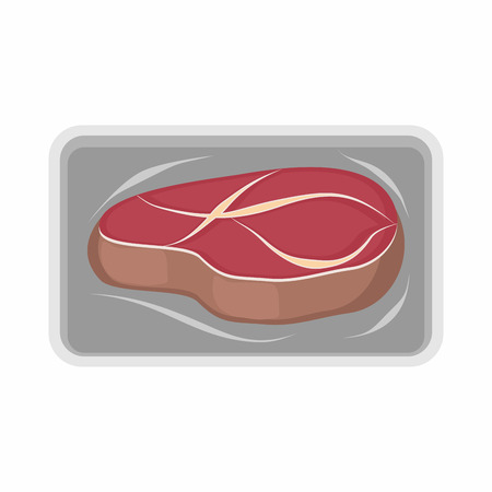 packed: Meat packaging. fresh steak.Vector illustration of beef