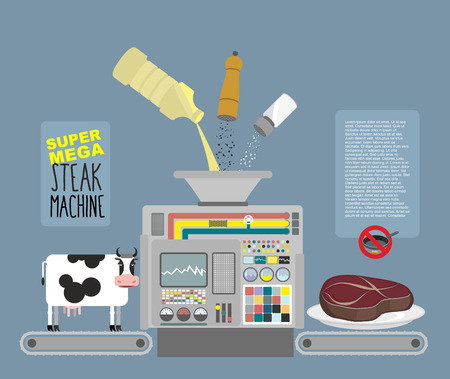 salt pepper: Super mega steak machine. Automatic line for production of meat products beef. Without frying in a pan. Ingredients: Cow butter salt and pepper. Infographics Concept production system for cooking Illustration