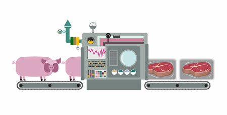 Apparatus for cooking cuts of meat: steak. Machine production processing pigs meat. Infographics complex system with buttons and sensors. Steak in a package. Vector illustration