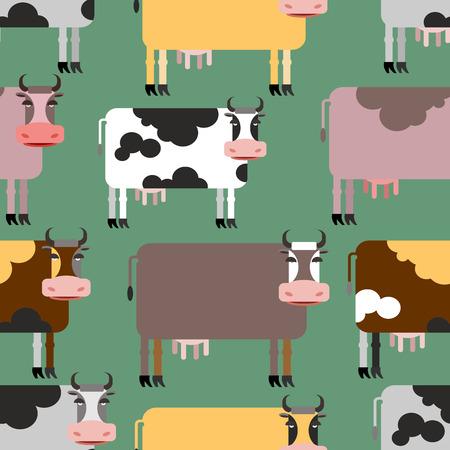 vaca: Vaca sin patr�n. Antecedentes de animales. Manada de vacas animales de granja. Ilustraci�n vectorial Vectores