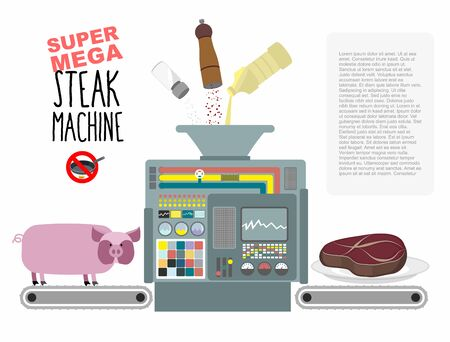 pig iron: Super mega steak machine. Manufacturing system for release of meat. No need to fry in a pan. Fill with oil salt and pepper. Manufacture of fried pieces of meat from pigs. Concept of automated mechanism for cooking. Vector illustration