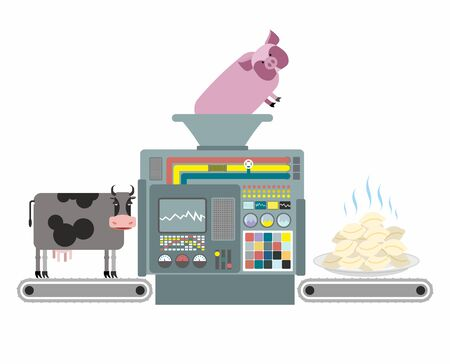 russian cuisine: Production of pork and beef dumplings. Russian national apparatus for cooking dumplings. Automated system of manufacture of meat food. Vector illustration