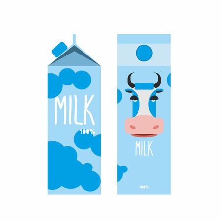 vaca: Envasado de leche. Paquete de Diseño de la plantilla con la leche de vaca azul. Ilustración vectorial Vectores