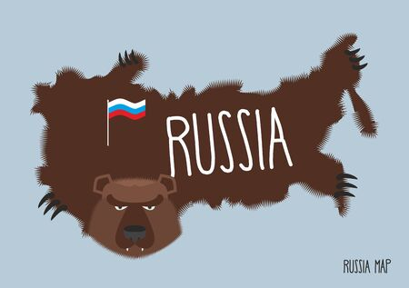 pelt: Map of Russia in the form of bear skins. Vector illustration