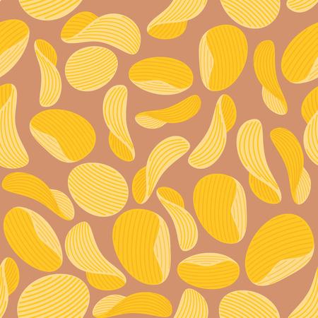 Les croustilles fond. Seamless puces ondulé. Vector illustration