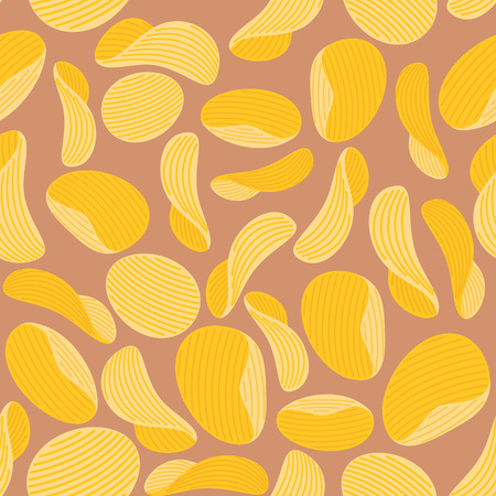 Potato chips background. Seamless pattern corrugated chips. Vector illustration