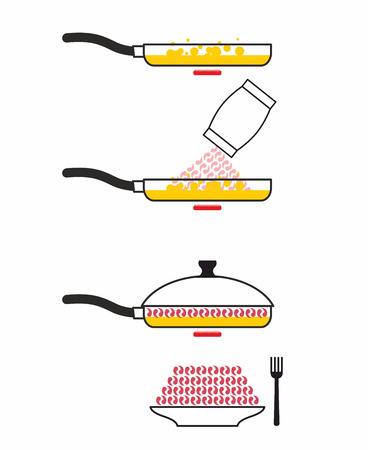 fried shrimp: Instructions cooking fried shrimp. Pan fry seafood. Manual prescription food. Vector illustration Illustration