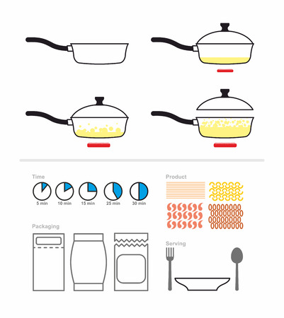 Cooking instruction with a frying pan. FRY on griddle. Set for manual cooking. Boiling oil. Includes products for cooking: pasta shrimp. And packaging and cutlery. Vector illustration