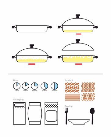 measuring spoon: Cooking instruction in roasting pan. Set to manual on preparation. Includes packaging and products: pasta and shrimp rice and rigatony. Infographics Instructions cooking meal. Vector illustration