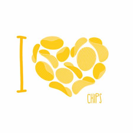 나는 칩을 사랑 해요. 감자 칩의 상징 심장입니다. 감자 튀김. 벡터 일러스트 레이 션