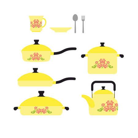 cookware: Conjunto de platos para cocinar. Utensilios de cocina: Taza y platillo. Sart�n y cazo. Cuchillo y tenedor. Conjunto amarillo platos retro con una flor. Ilustraci�n vectorial