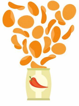 potato chip: Corrugated potato chips with paprika in a pack. Vector illustration.